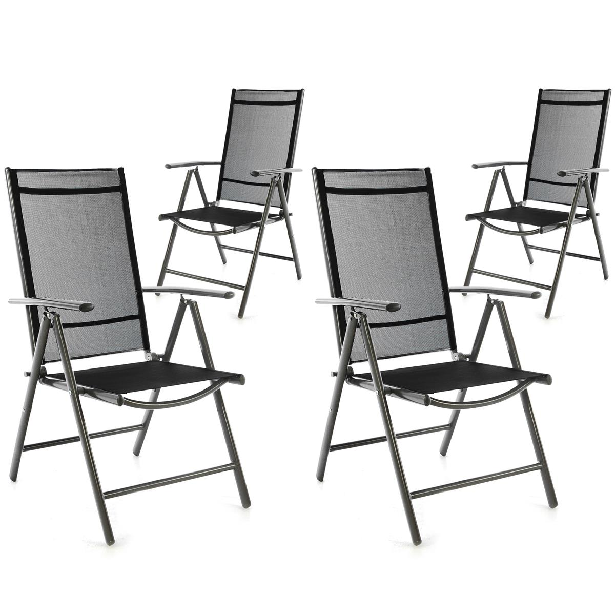 4er Set Klappstuhl Alu Rahmen dunkelgrau Textilene schwarz Hochlehner Camping