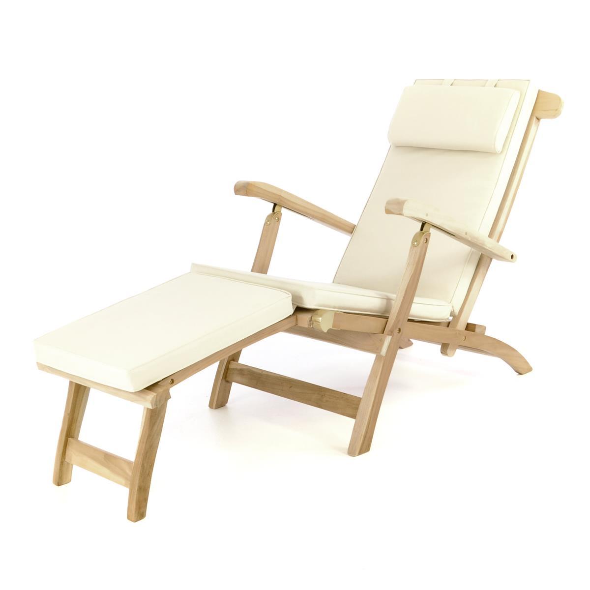 """DIVERO Liegestuhl Deckchair """"Florentine"""" Steamer Chair Teakholz Auflage creme"""