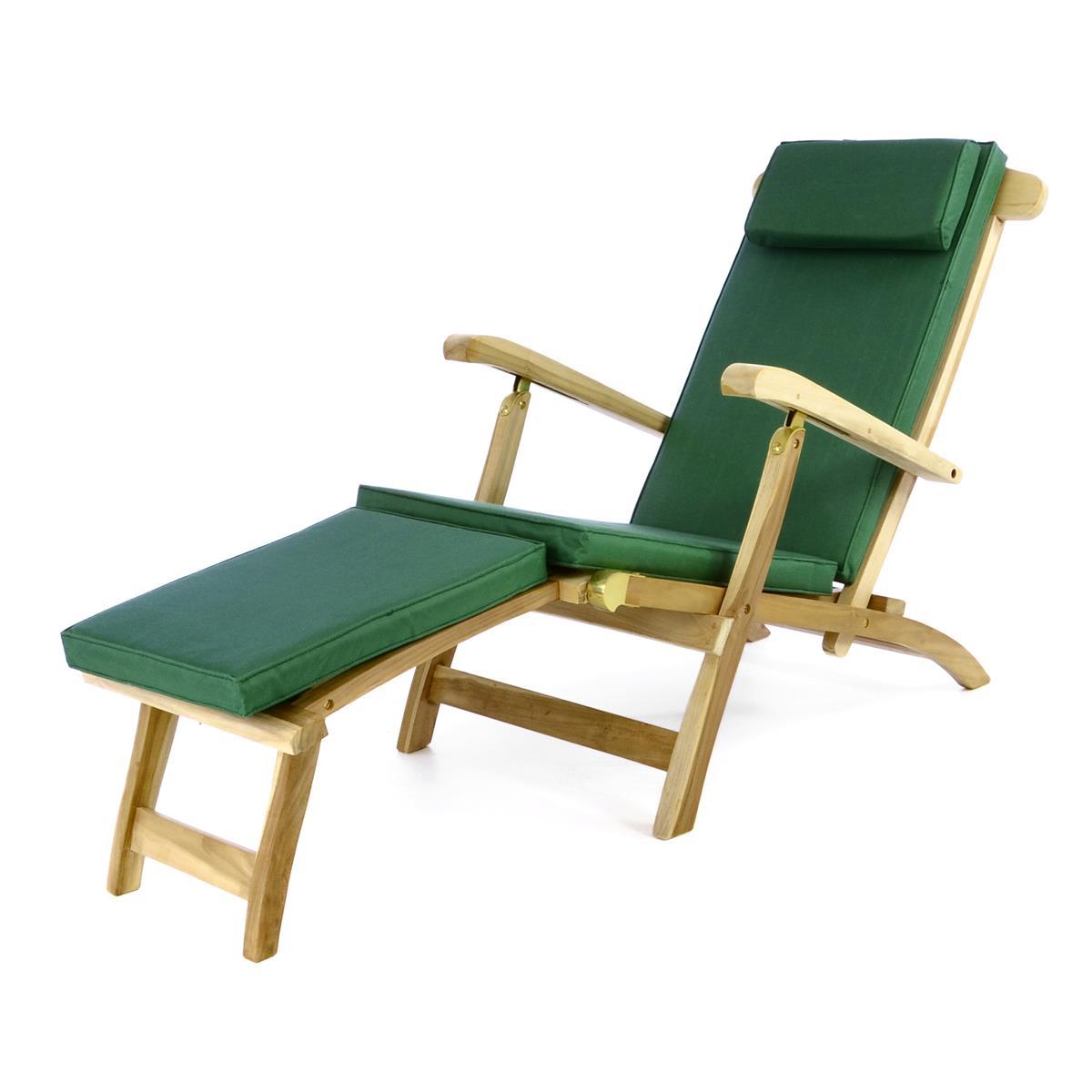 """DIVERO Liegestuhl Deckchair """"Florentine"""" Steamer Teakholz Auflage dunkelgrün"""