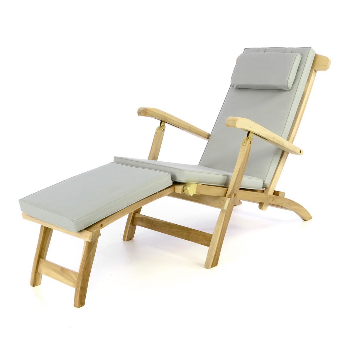 """DIVERO Liegestuhl Deckchair """"Florentine"""" Steamer Teakholz Auflage grau"""