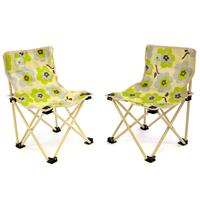 2er Set Camping Kinderstuhl beige Blumenmuster grün/grau faltbar Angelstuhl