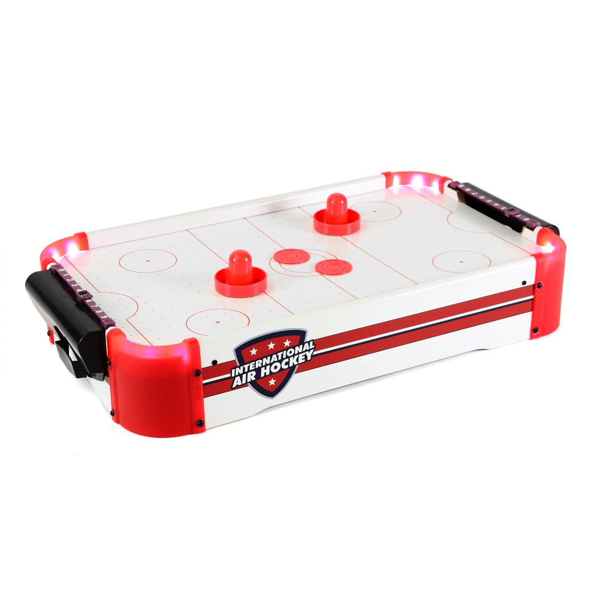 Mini Air-Hockey Spiel Tischspiel mit LED Beleuchtung Batterie betrieben