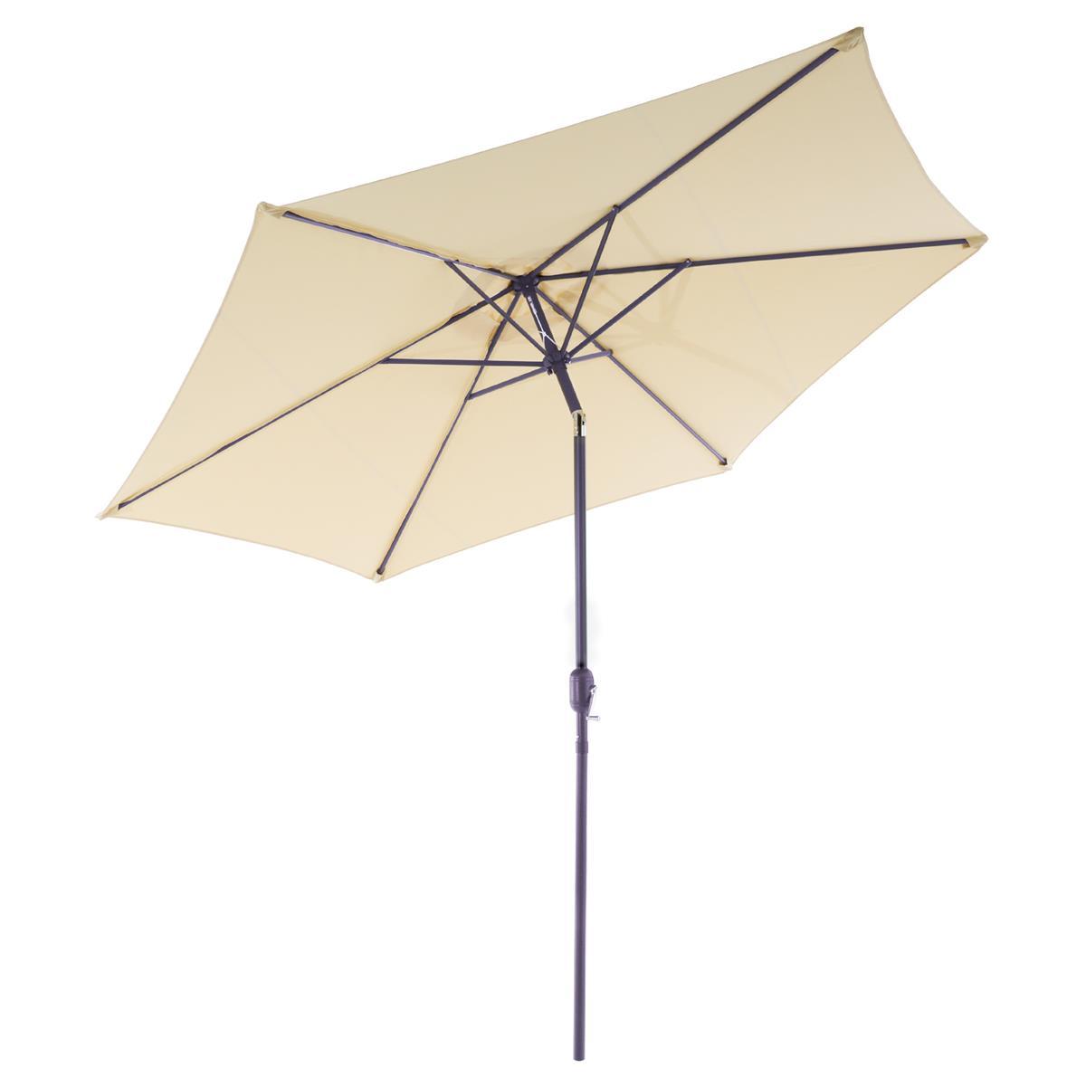 Sonnenschirm 2,90m creme mit Kurbel neigbar wasserabweisend UV Schutz 50+