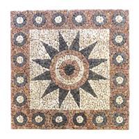DIVERO Fliesen Rosone Blume Mosaik Marmor creme grau terrakotta 120x120cm