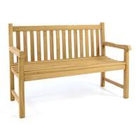 DIVERO 2-Sitzer Gartenbank Parkbank massiv Teak Holz behandelt 130cm
