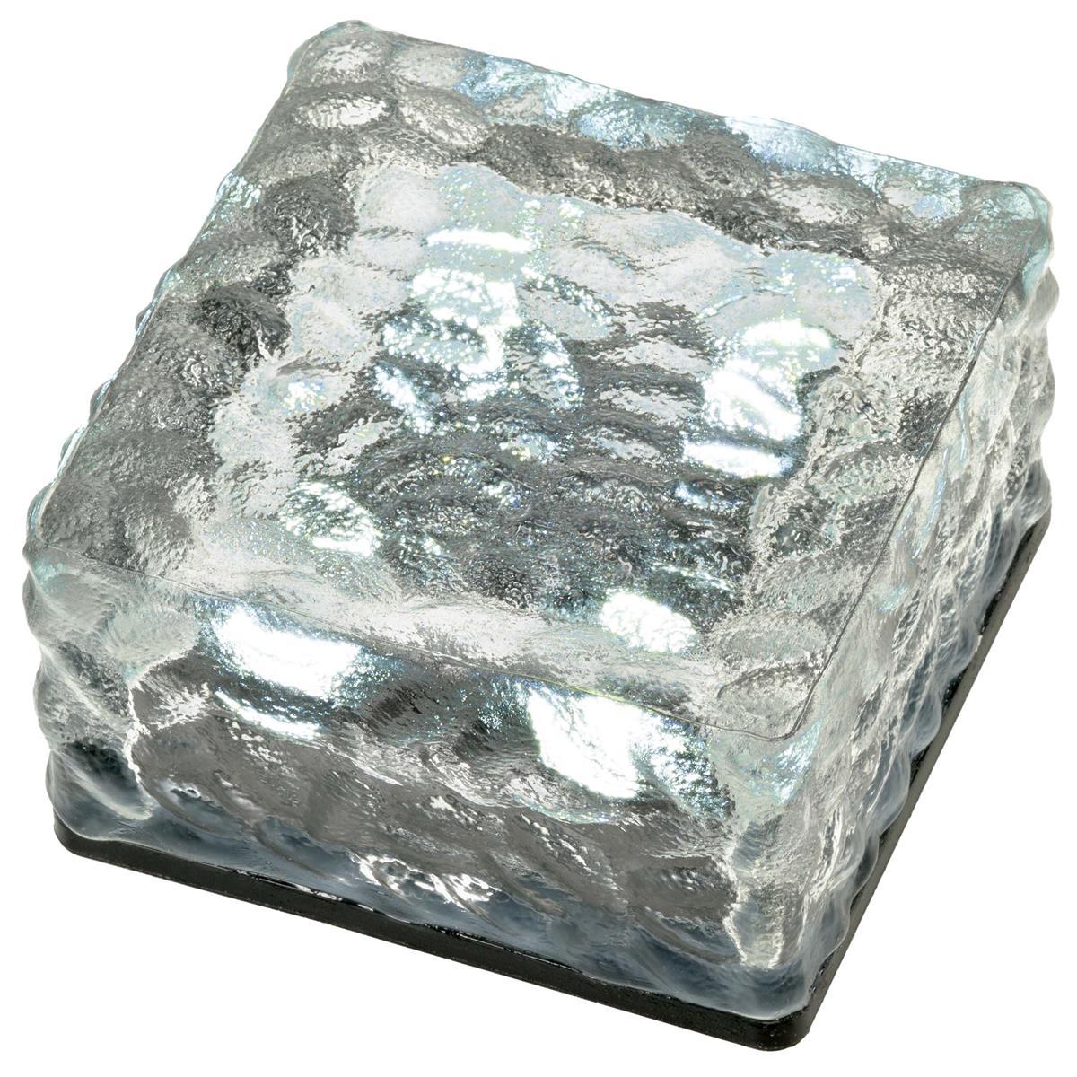Solar Glasstein 4 LED weiß 10 x 10 x 5 cm Dekoleuchte Milchglas Bodenleuchte