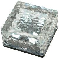 Solar Glasstein 4 LED weiß 10 x 10 x 4,5 cm Dekoleuchte Milchglas Bodenleuchte
