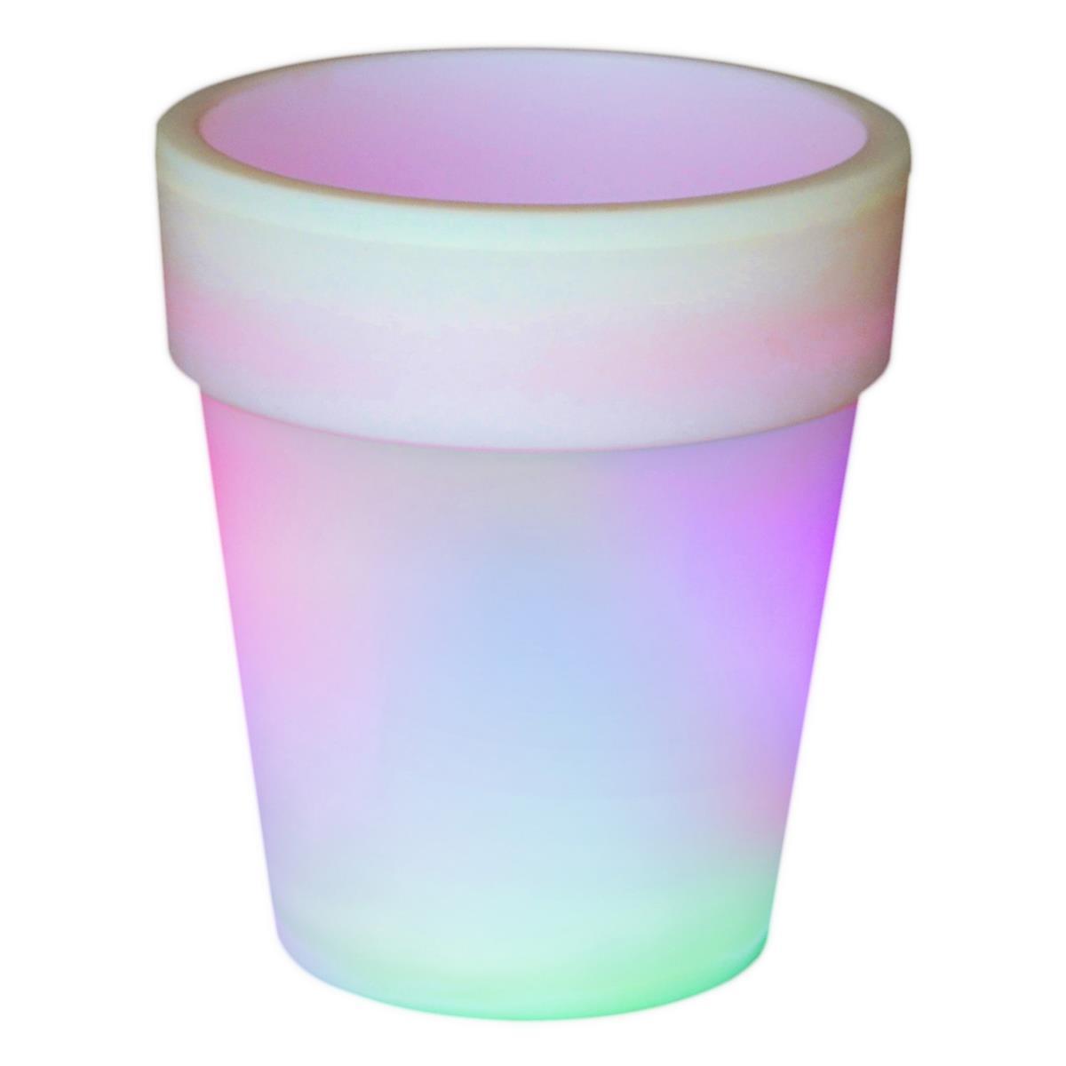 LED Solar Blumentopf weiß 3 LED mit Farbwechsel 19x17 cm Pflanzkübel