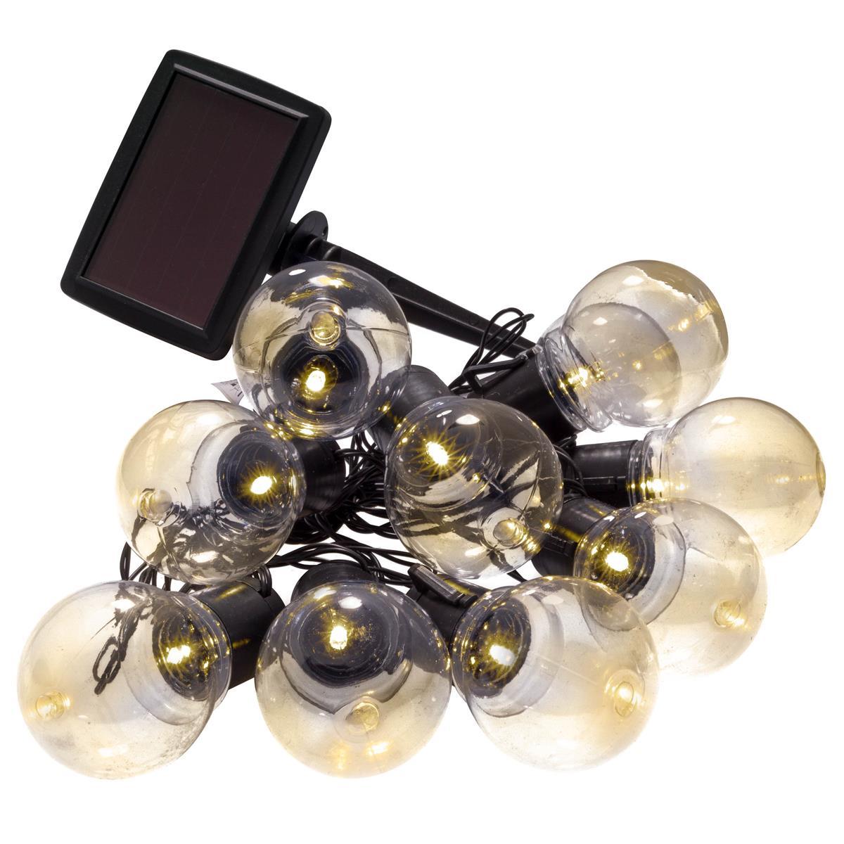 Solar 10 LED Lichterkette Partybeleuchtung Glühbirnen 4,5cm warmweiß Blinken