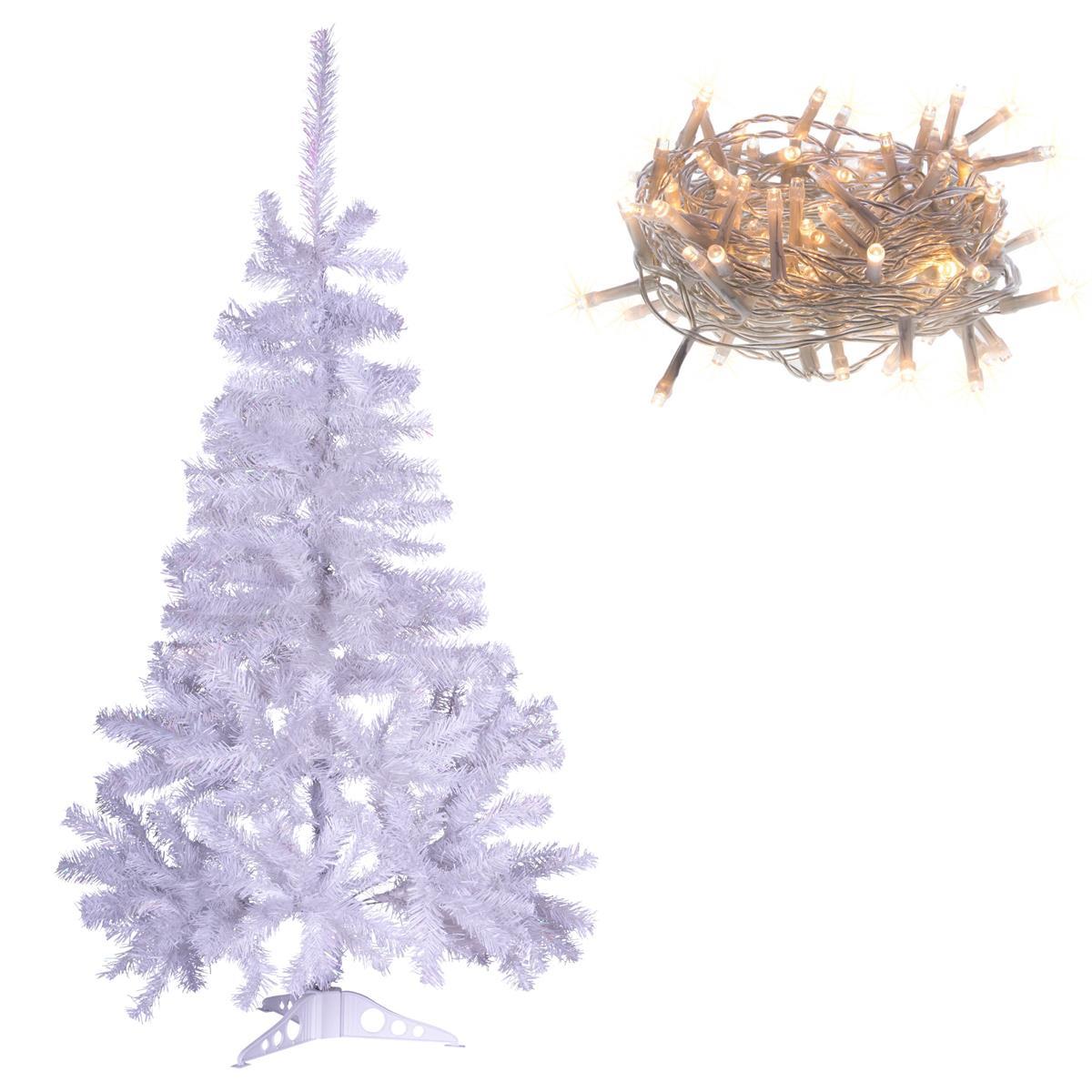 Weihnachtsbaum Aufbauen.Weihnachtsbaum Weiß Mit Glitzereffekt 120 Cm Mit Ständer 100 Led