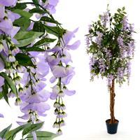 Blauregen-Baum Echtholzstamm Kunstpflanze Kunstbaum 1,4m lila Blüten